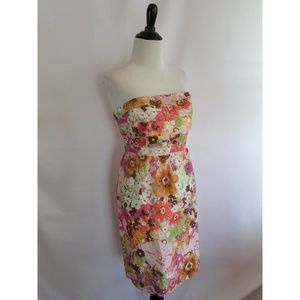 J.Crew Size 10 Strapless Dress Multi-Color